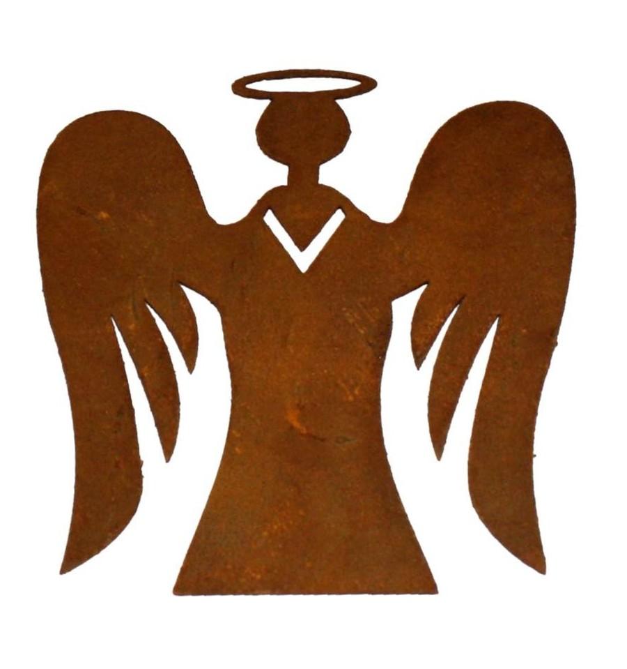 Engel mit fl gel 8 cm hoch christbaumschuck edelrost for Engel edelrost