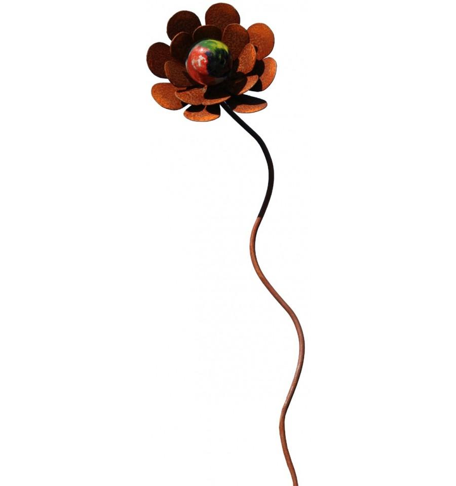 edelrost blume emely inkl glaskugel 105 cm metallmichl. Black Bedroom Furniture Sets. Home Design Ideas