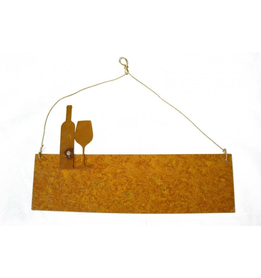 blanko rostschild 30 x 10 cm motiv weinflasche mit glas. Black Bedroom Furniture Sets. Home Design Ideas