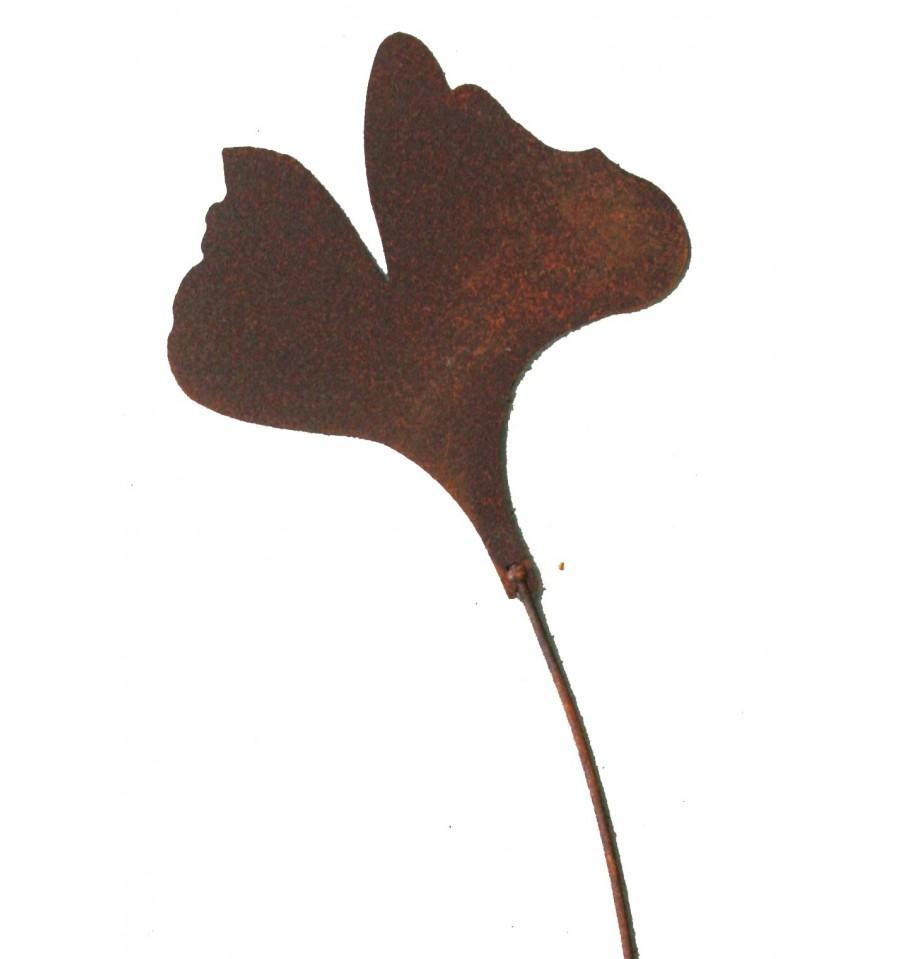 ginkgoblatt gartenstecker klein 15cm l 60cm in edelrost metallmichl. Black Bedroom Furniture Sets. Home Design Ideas