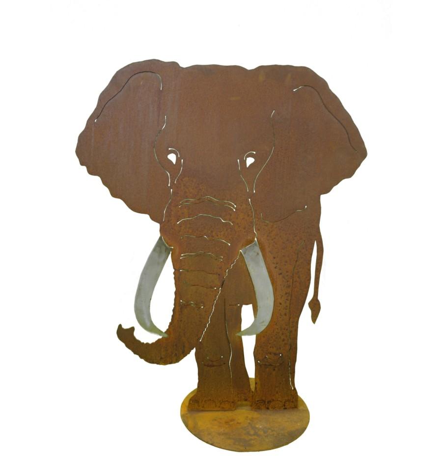 edelrost elefant 100 cm hoch vom metallmichl edelrostshop. Black Bedroom Furniture Sets. Home Design Ideas