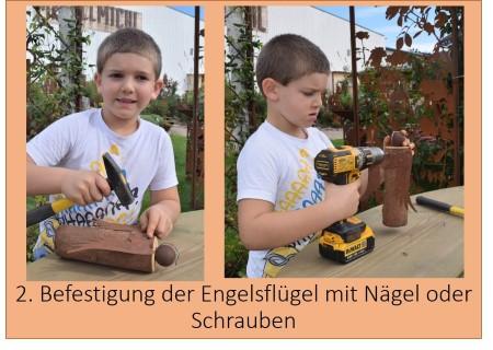 Engelflügel Metall an Holz befestigen Anleitung zum Engel basteln Schritt 2
