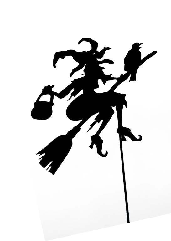 Halloween Deko Garten mit Gartenstecker Hexe aus Metall