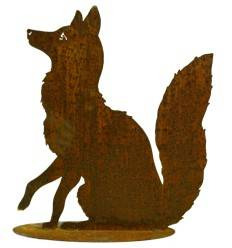 Sitzender Fuchs auf Platte 60 cm