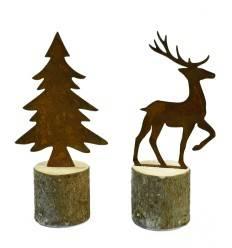 Hirsch und Tanne Set auf Baumstamm 32cm hoch