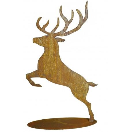 Springender Hirsch 60 cm hoch auf Platte