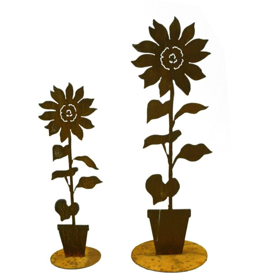 edelrost sonnenblume mit topf auf platte gartendeko. Black Bedroom Furniture Sets. Home Design Ideas