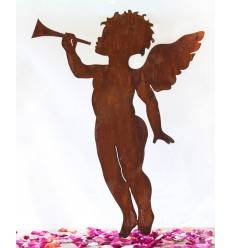 Rost Engelchen mit Trompete, Höhe 60 cm