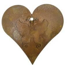 Edelrost Herz mit Schmetterling und Loch 15cm