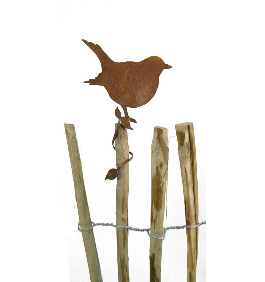 edelrost vogel zaunk nig sitzend mit befestigungsband f r ast 10 5 cm. Black Bedroom Furniture Sets. Home Design Ideas