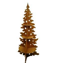 Metall Weihnachtsbaum 200 cm hoch - 3-seitig mit Ablage | Christbaum Edelrost