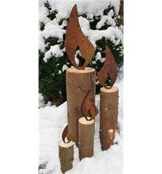 Rostige flammen aus edelrost metallflamme rostflamme for Weihnachtsdeko aus rost