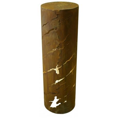 """Säule """"Crique"""", rund mit schrägen Rissen 100cm hoch"""
