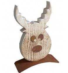 Elchkopf -Donner- angeflammt 30cm hoch aus Fichtenholz