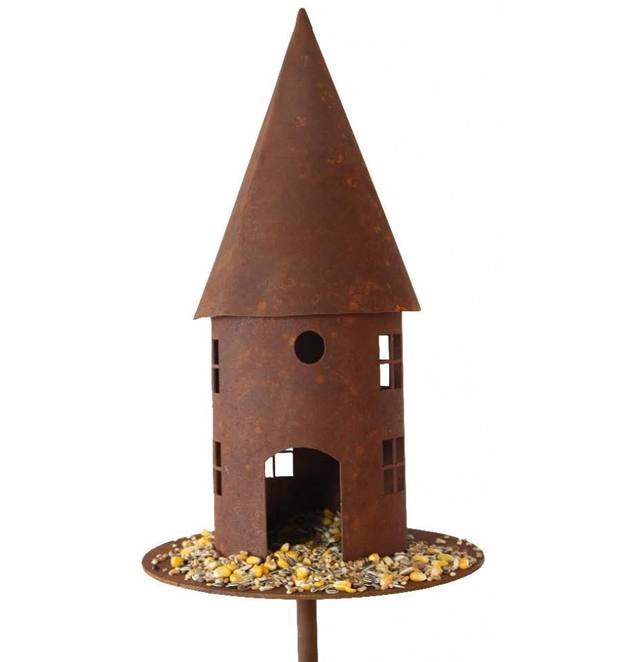 Deko vogelhaus rund h 45 cm platte 22 cm 2tlg stab 150 cm for Wohndesign sera