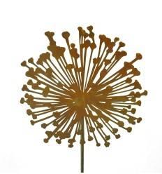 Edelrost Blumenstecker Allium 40cm Durchmesser (flach) Gesamthöhe 160 cm