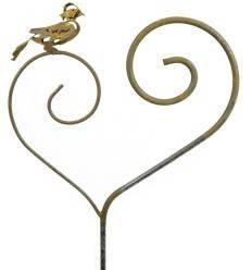 Gartenstab Vogel auf Herz