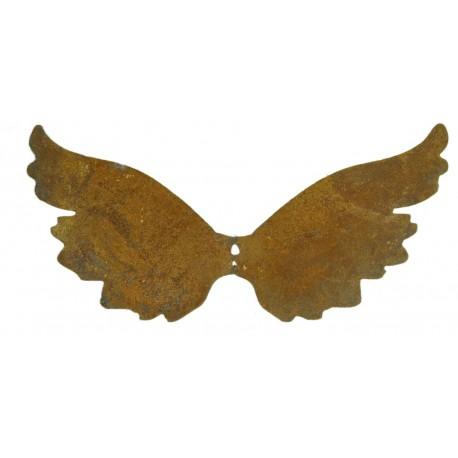 Engelsflügel aus Edelrost mit Loch zum Anbringen an Holz oder Türgestecken