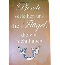 """Pferde Spruch-Schild """"Pferde verleihen uns die Flügel, die wir nicht haben"""" 80 x 50 cm mit Hufeisenflügel"""