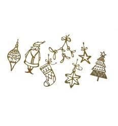 Lustige Edelrost-Weihnachtsanhänger 7er Set, Höhe 15-23 cm - Weihnachtsbaumschmuck