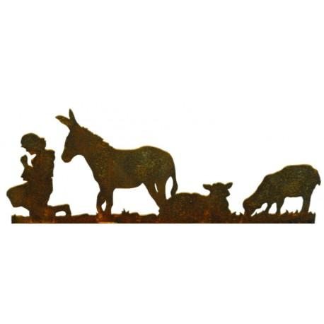 Krippenszene links, Schäfer Schafe und Esel , Figurenhöhe 21 cm
