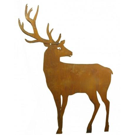 Edelrost Hirsch nach hinten schauend mit doppeltem Geweih und Stab zum Stecken, 100 cm