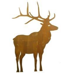 Edelrost Hirsch nach vorne schauend mit Stab zum Stecken, 100 cm