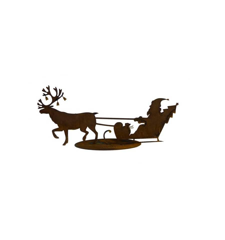 edelrost weihnachtsmann mit schlitten und deko rentier kaufen. Black Bedroom Furniture Sets. Home Design Ideas