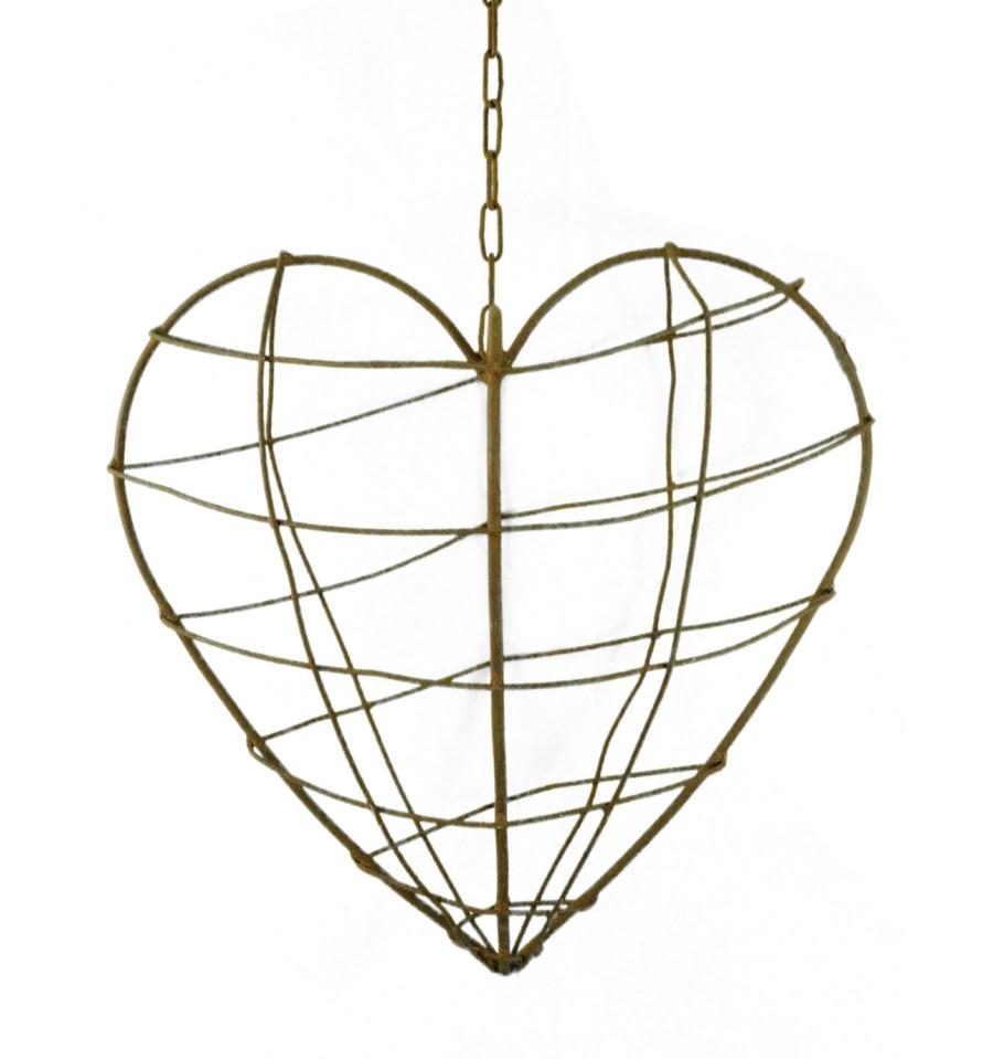 Rostiges Draht Herz für Gestecke zum Hängen 40 x 40 cm