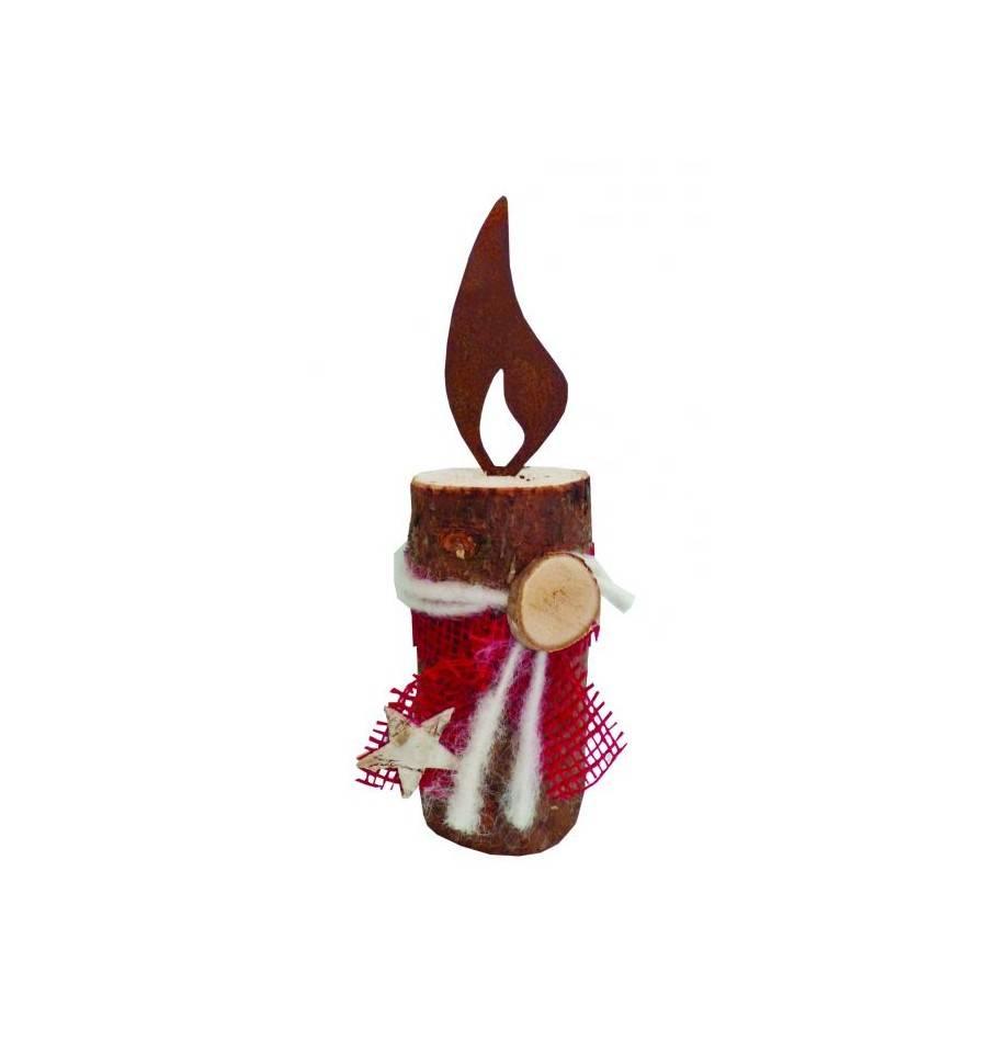 Edelrost kerze 40 cm aus rundholz mit rost flamme inkl deko for Deko mit rost