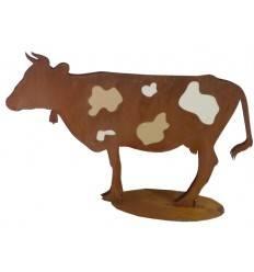 Edelrost Kuh - Erna- 100 cm mit Kuhflecken aus Leder - auf Bodenplatte