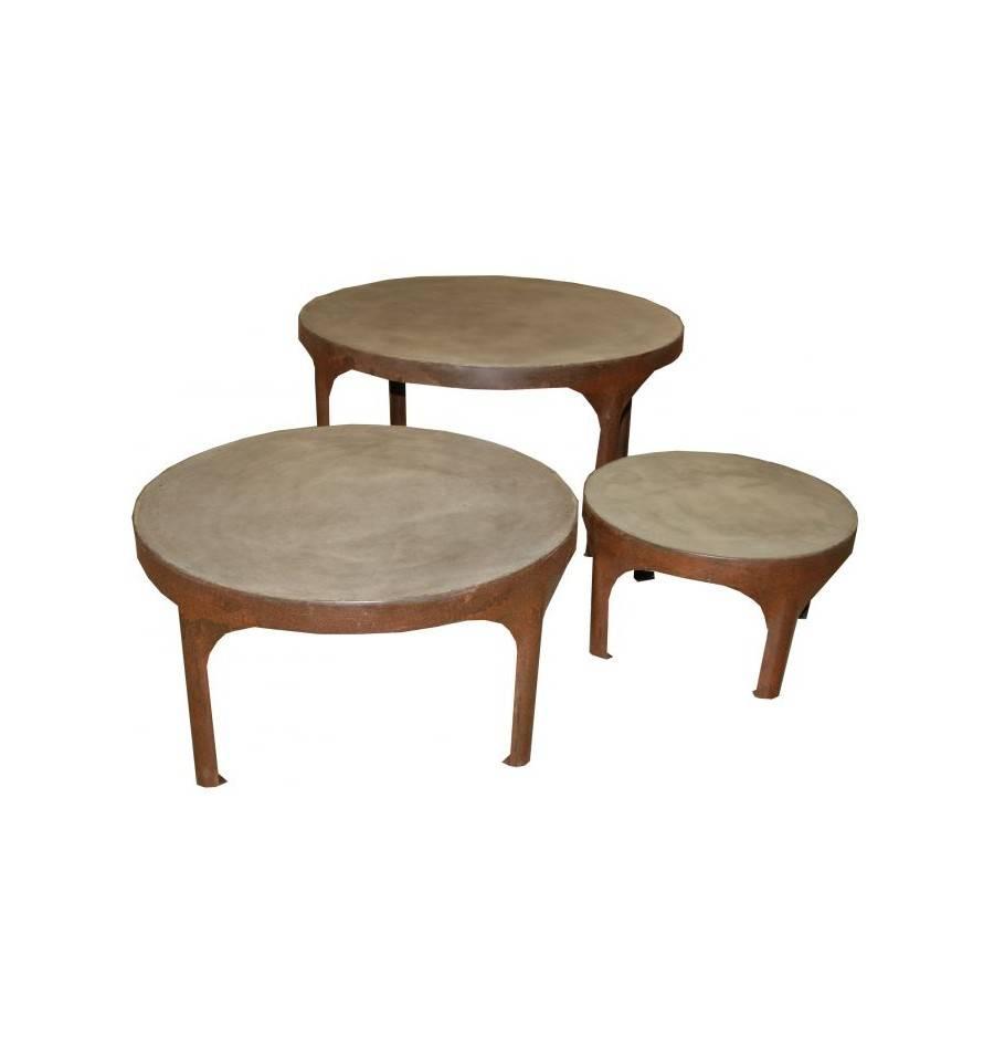 Tischet 3tlg beistelltisch marseille durchmesser 90 70 for Beistelltisch 70 cm