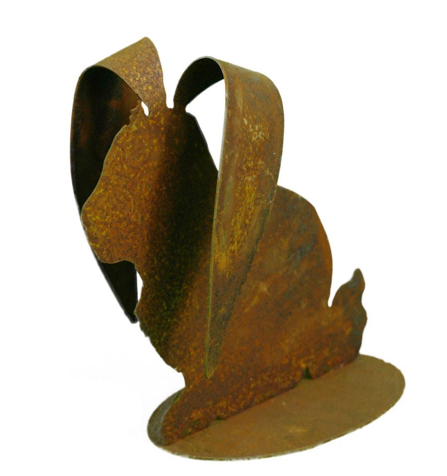 Edelrost hase mit gebogenen ohren tischdekoration f r die for Tiere aus rostigem metall