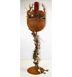 Pokal / Schale mit Hirschen rund gross, 113 cm hoch