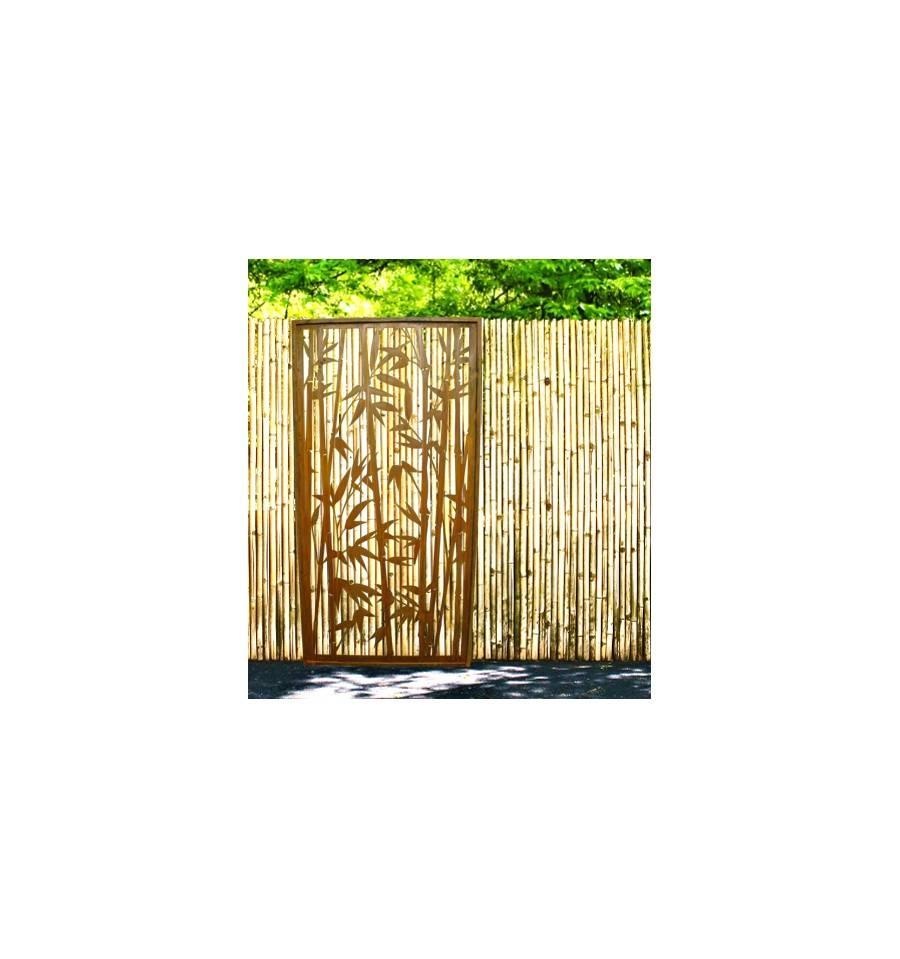 Rost sichtschutz offener bambus paravent h he 200 cm - Sichtschutzwande aus stein ...