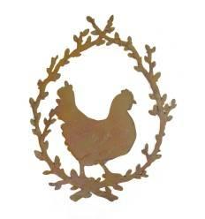 Huhn im Palmkätzchenkranz Höhe ca. 20 cm