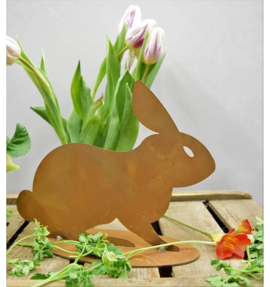 Rost schattenbild hase lauernd h he 19 cm auf platte for Tiere aus rostigem metall