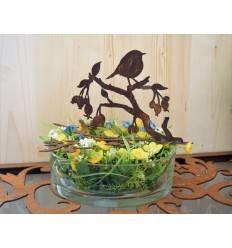 Vogel auf Ast mit Beeren, für Glasschalen und Vasen bis D:22cm