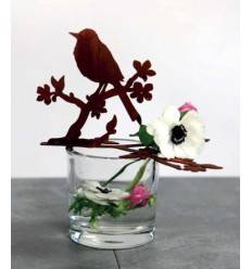 Edelrost Vogel auf Blütenast mit Schwanz nach unten, für Glasschalen , Höhe 15, Länge 24 cm