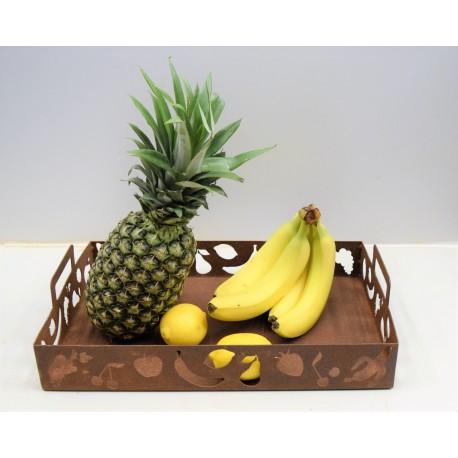 Edelrost Tablett rechteckig mit Henkel Früchte