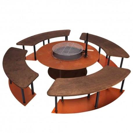 Edelrost Feuerkorb mit Bank Komplettset Grillstube Grillbank Circle XXL Set mit Grill und Bänken