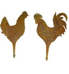 Hahn und Huhn Blumentopftstecker 2er Set - Gesamtlänge 25 cm
