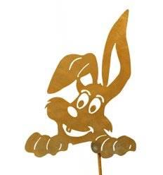 Topfstecker Hase schaut raus, groß, Größe I, auf 22 cm Stab, Rost - Höhe 26 cm - Breite 19 cm