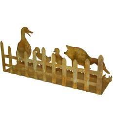 Entenfamilie mit Zaun auf Platte - Höhe 20 cm - Breite 50 cm - Tiefe 12 cm
