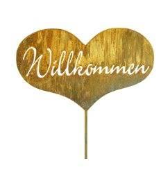 Herz Willkommen Stecker - 37 x 23 cm + Stab 120 cm