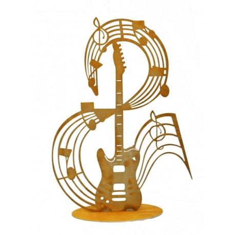 """Edelrost Musiknote """"Guitar"""" auf Platte - 43 cm hoch"""