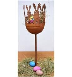 Pokal klein Hasen mit Eier, Höhe 75 cm mit Standfuß