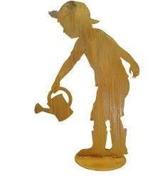 Gärtner Till mit Gießkanne auf Platte - Höhe 98 cm - Breite 65 cm lebensgroße Kinderfigur