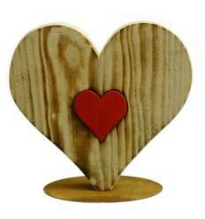 Holz-Herz Maria-300 angeflammt mit rotem Innenherz, Höhe 30 cm Breite 30 cm