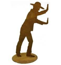 Figur Edelrost Gärtner Heinz, 20 cm, auf Platte